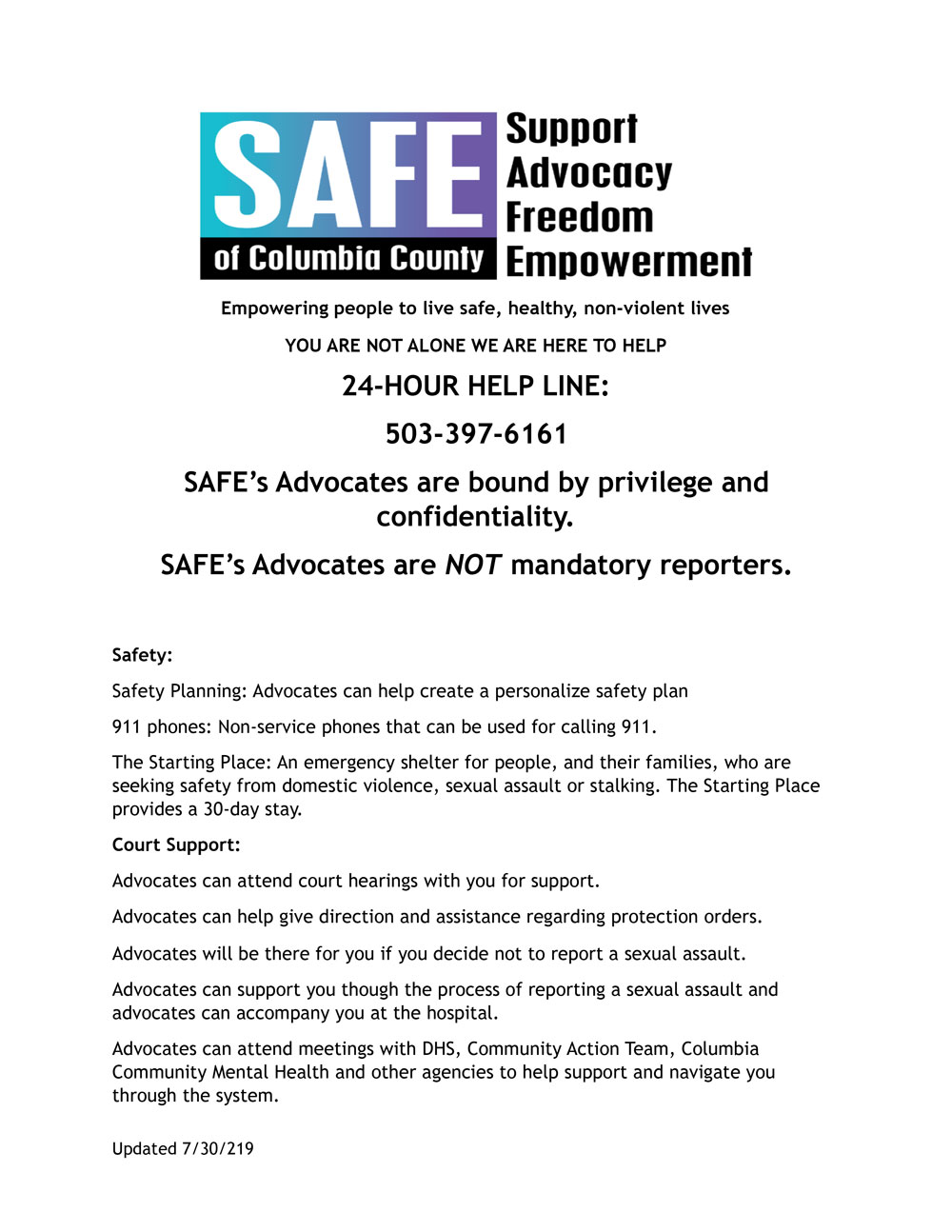 SAFE Outline PDF